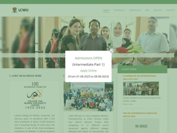 Screenshot of www.lcwu.edu.pk