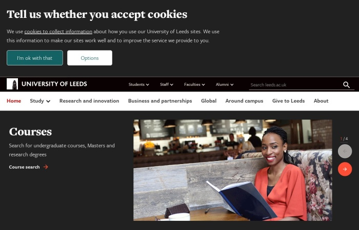 Screenshot of www.leeds.ac.uk