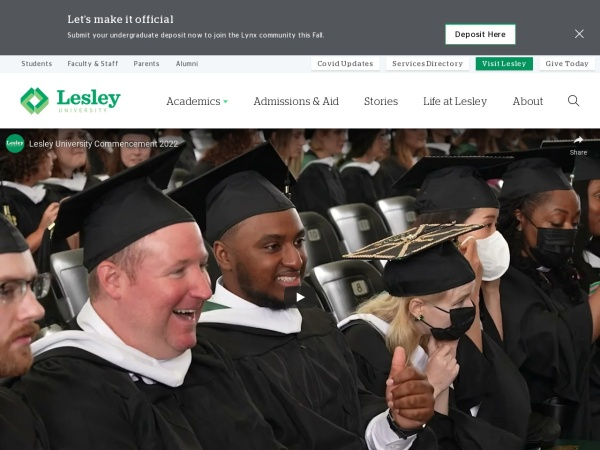 Screenshot of www.lesley.edu