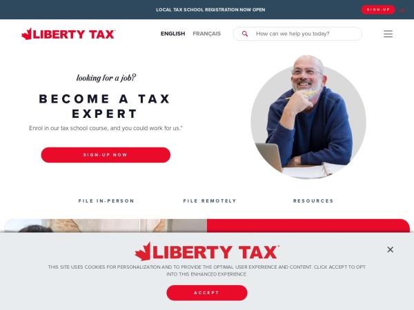 Screenshot of www.libertytaxcanada.ca