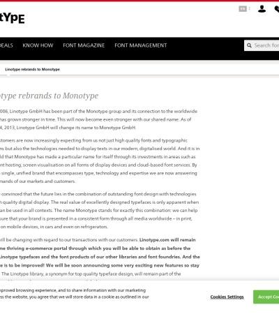 Screenshot of www.linotype.com
