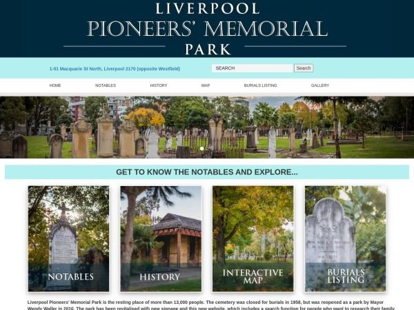 Screenshot of www.liverpoolpioneersmemorialpark.com.au