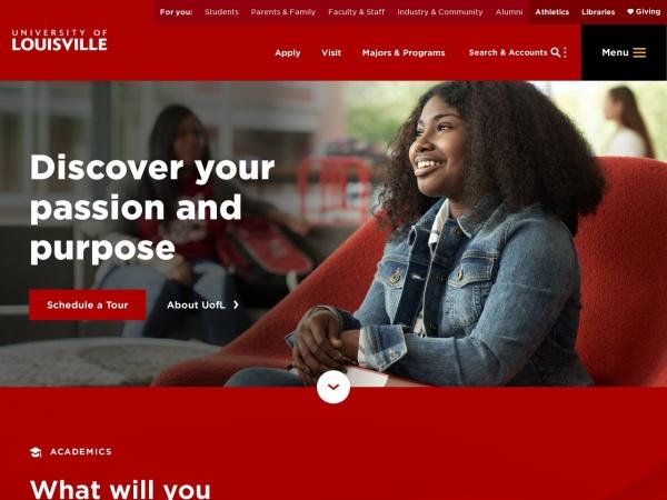 Screenshot of www.louisville.edu