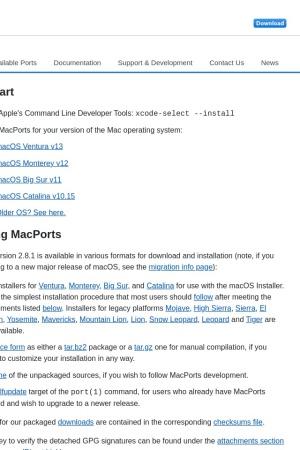Screenshot of www.macports.org