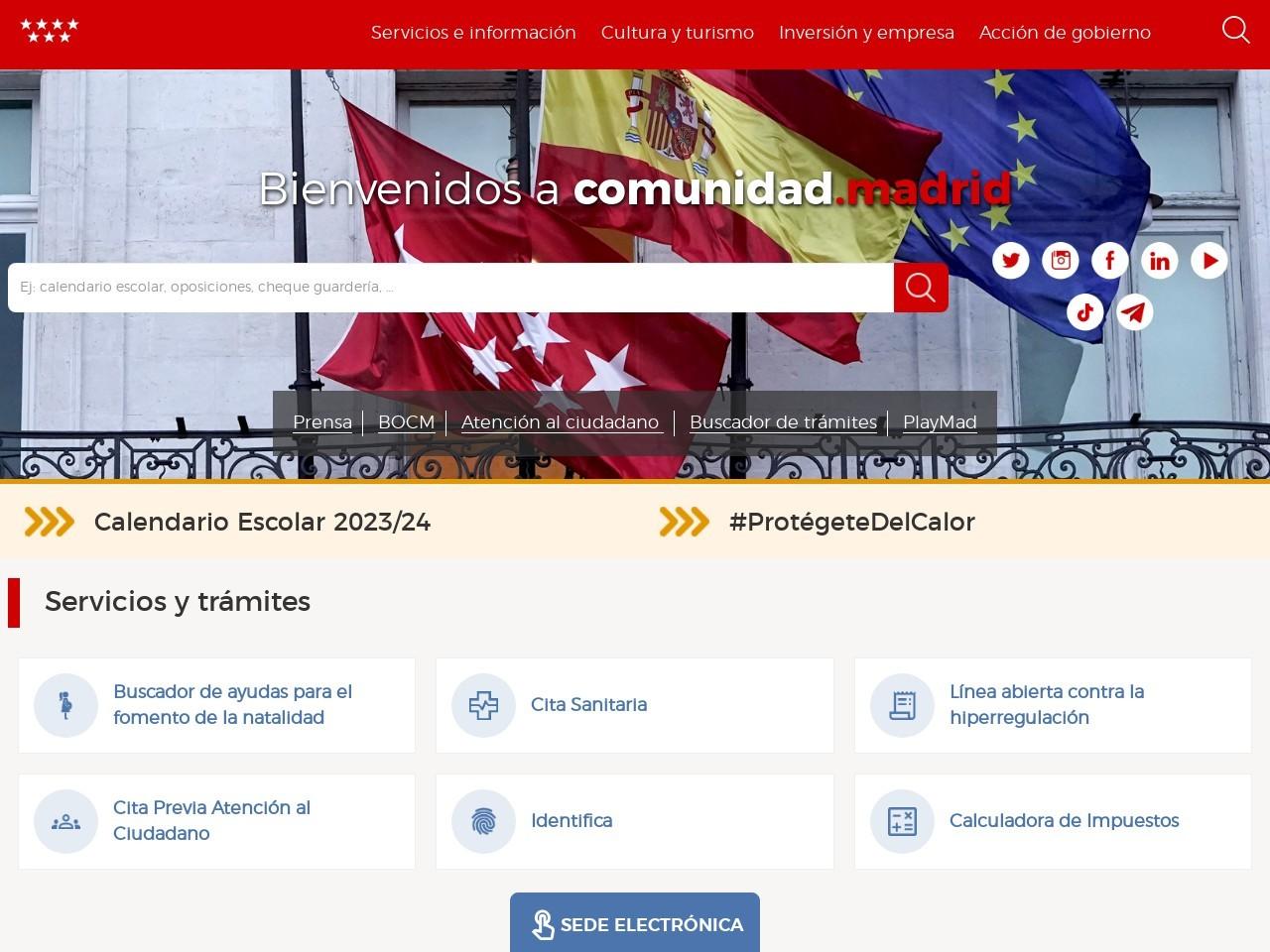 Captura de pantalla de www.madrid.org