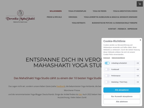 Screenshot von www.mahashakti-yoga.de