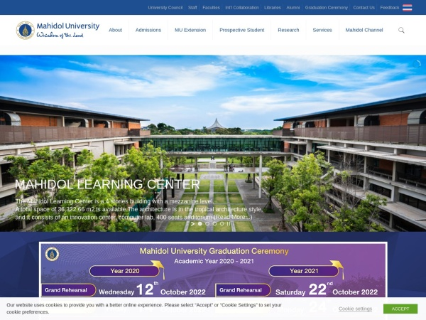 Screenshot of www.mahidol.ac.th