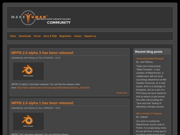 Screenshot of www.makehumancommunity.org