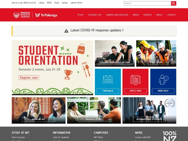 Screenshot of www.manukau.ac.nz