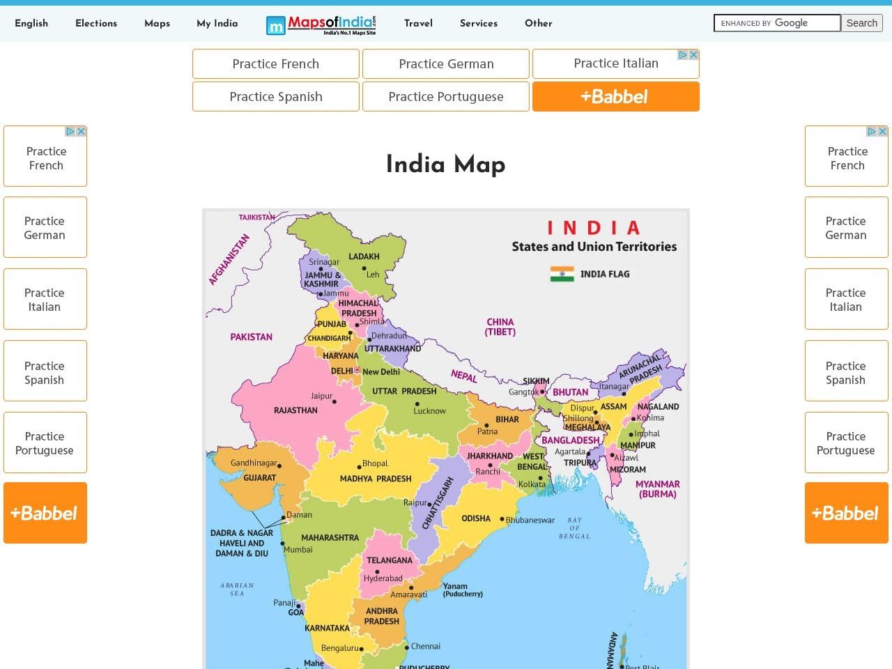 Screenshot of www.mapsofindia.com