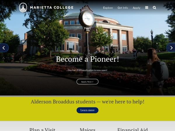 Screenshot of www.marietta.edu
