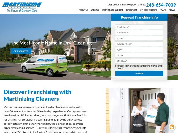 Screenshot of www.martinizingfranchise.com