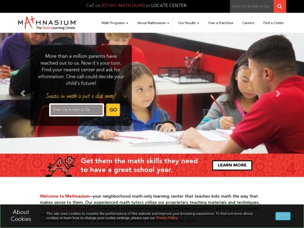 Screenshot of www.mathnasium.com