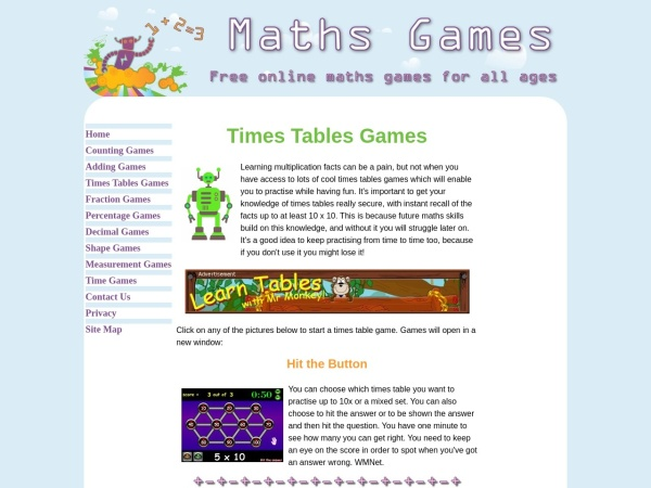 Screenshot of www.maths-games.org