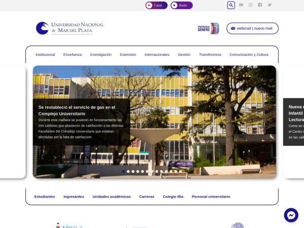 Screenshot of www.mdp.edu.ar