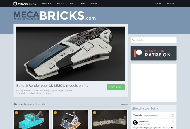 Screenshot of www.mecabricks.com