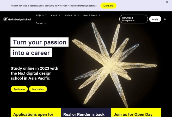 Screenshot of www.mediadesignschool.com