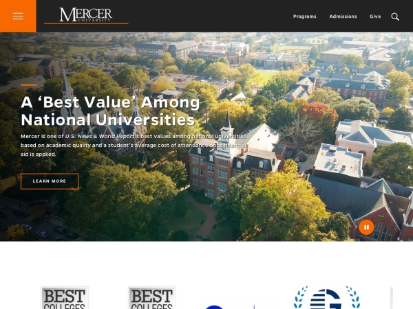 Screenshot of www.mercer.edu