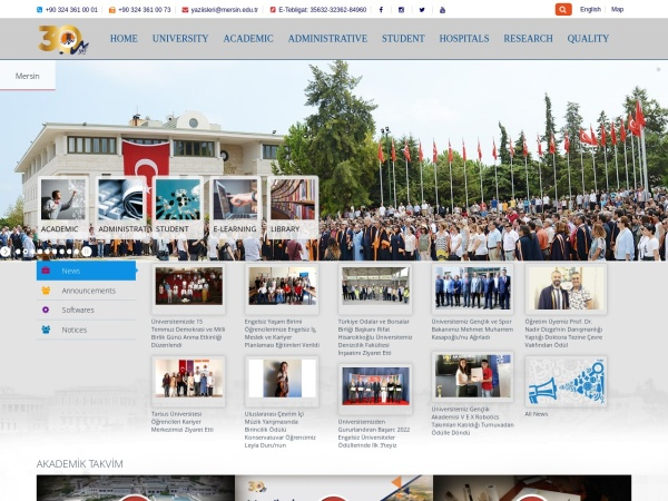 Screenshot of www.mersin.edu.tr