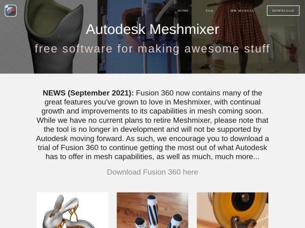 Screenshot of www.meshmixer.com