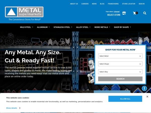 Screenshot of www.metalsupermarkets.com