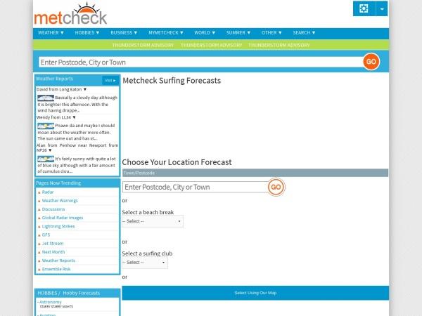 Screenshot of www.metcheck.com