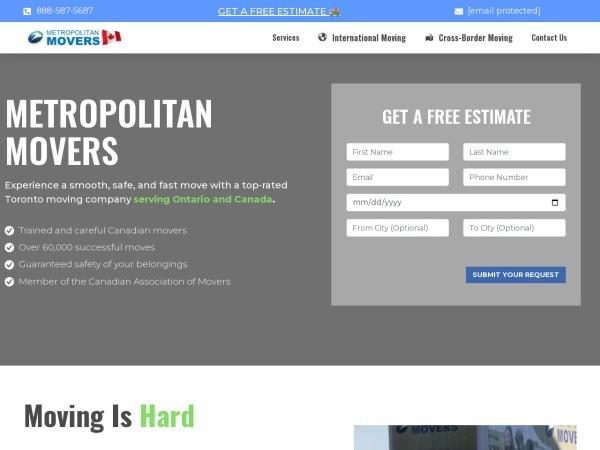 Screenshot of www.metropolitanmovers.ca