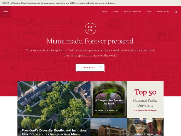 Screenshot of www.miami.muohio.edu
