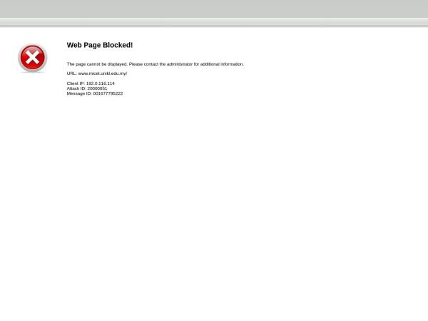 Screenshot of www.micet.unikl.edu.my