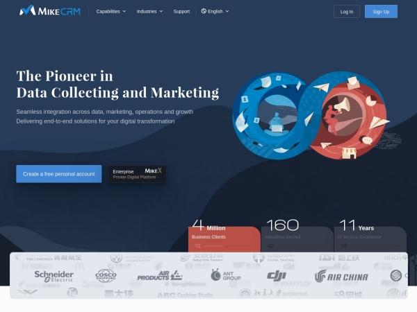 Screenshot of www.mikecrm.com