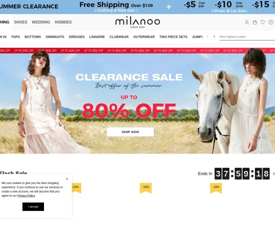 Screenshot of www.milanoo.com