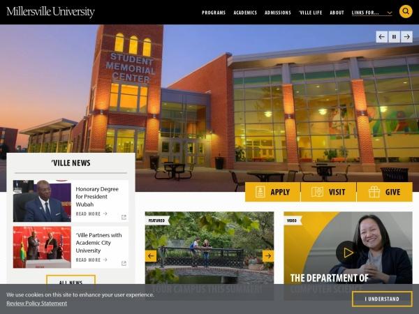 Screenshot of www.millersville.edu