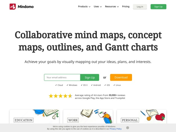 Screenshot of www.mindomo.com