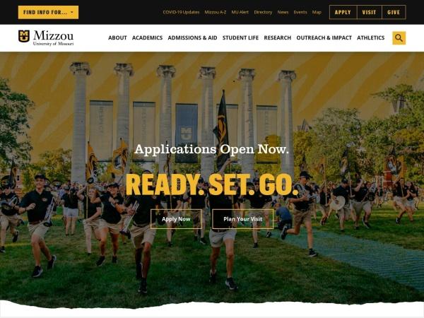 Screenshot of www.missouri.edu