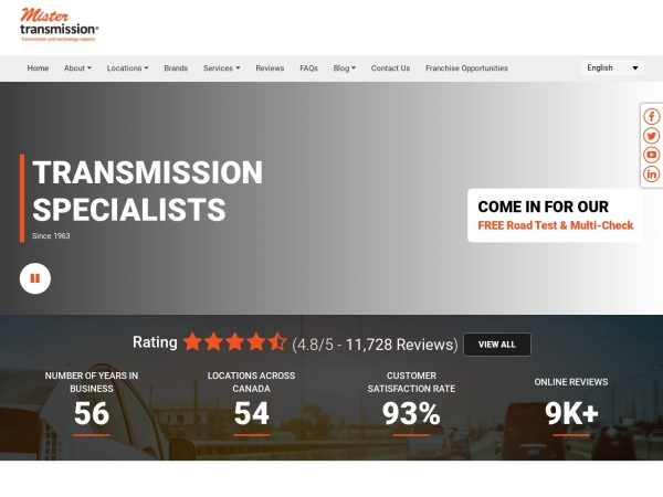 Screenshot of www.mistertransmission.com