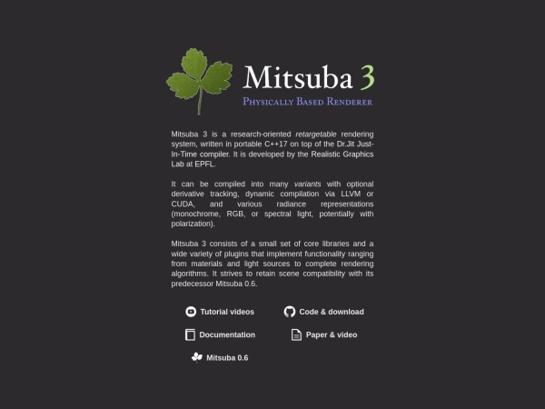 Screenshot of www.mitsuba-renderer.org