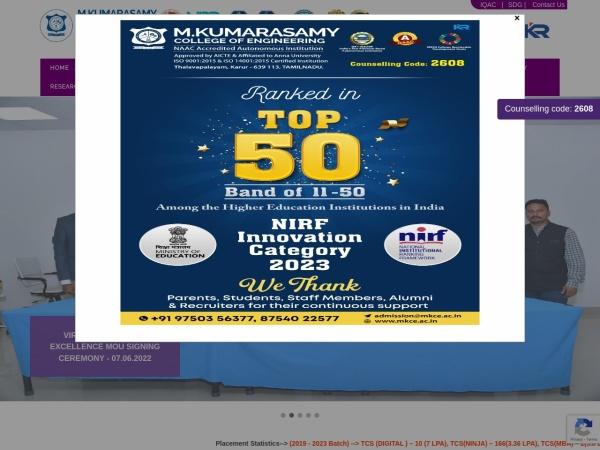 Screenshot of www.mkce.ac.in