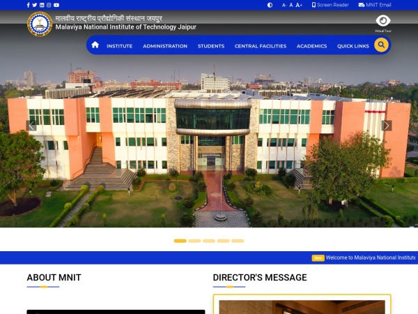 Screenshot of www.mnit.ac.in