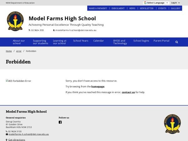 Screenshot of www.modelfarms-h.schools.nsw.edu.au