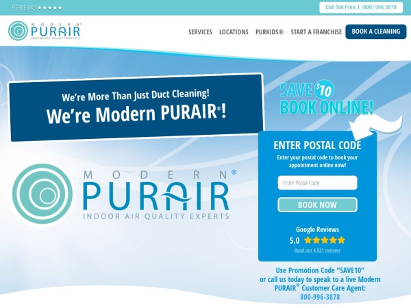 Screenshot of www.modernpurair.com