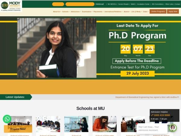 Screenshot of www.modyuniversity.ac.in