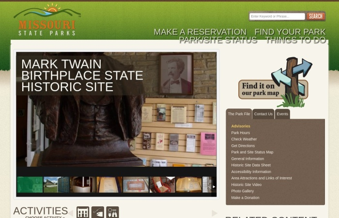 http://www.mostateparks.com/park/mark-twain-birthplace-state-historic-site