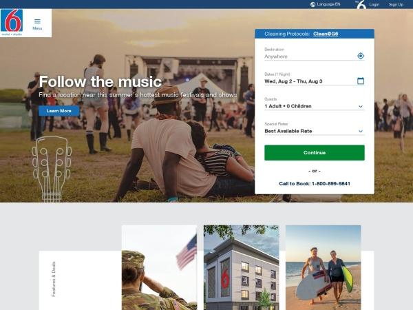 Screenshot of www.motel6.com