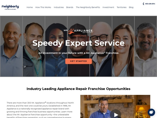 Screenshot of www.mrappliancefranchise.com
