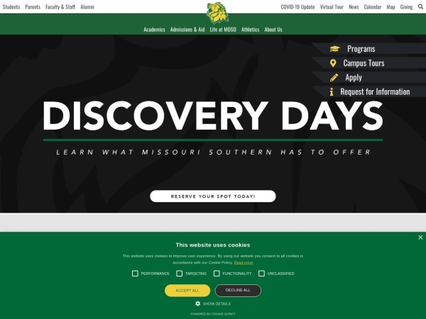 Screenshot of www.mssu.edu