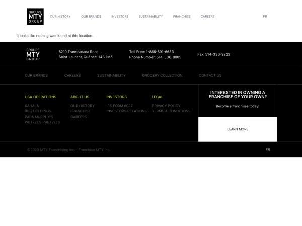 Screenshot of www.mtygroup.com