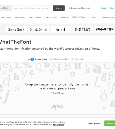 Screenshot of www.myfonts.com
