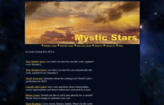 Screenshot of www.mysticstars.net