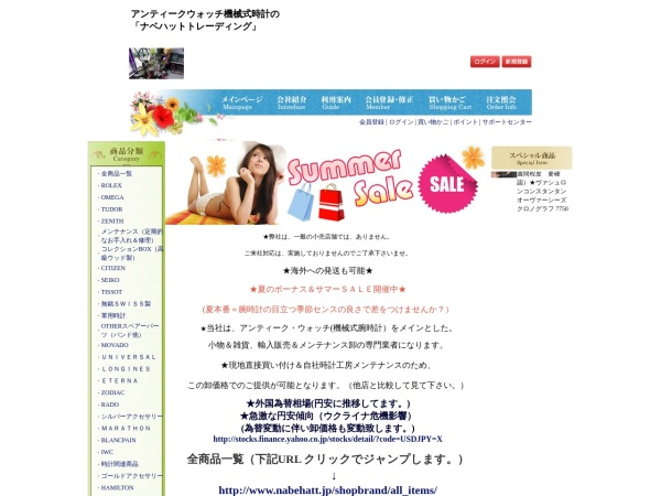 Screenshot of www.nabehatt.jp