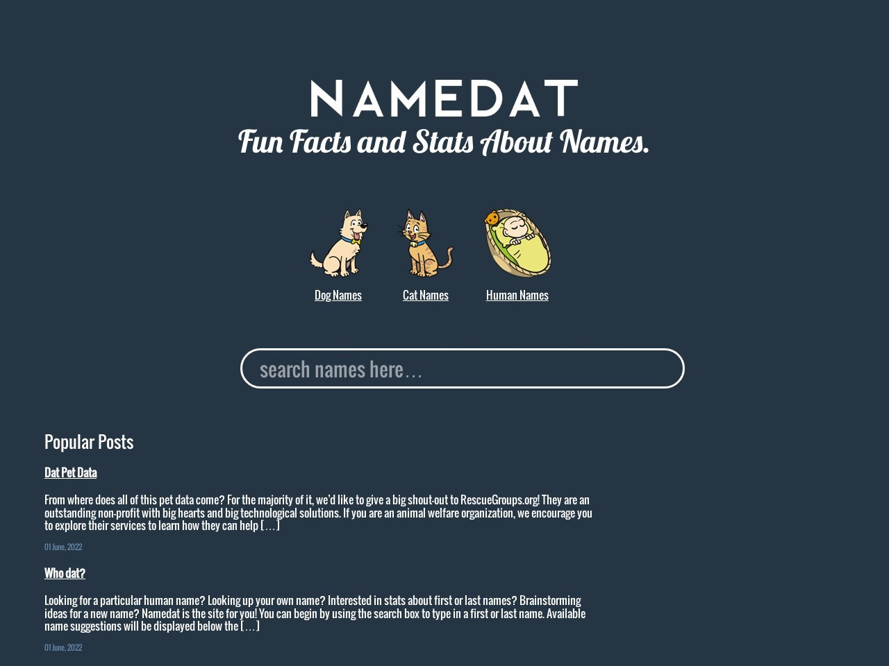 NameDat   Facts and Stats about your name.